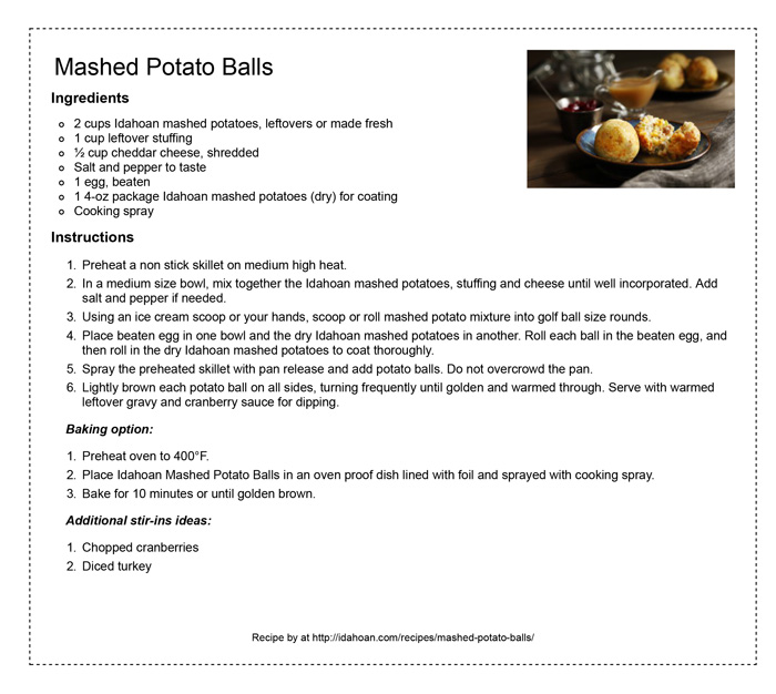 idahoan mashed potato balls - rec